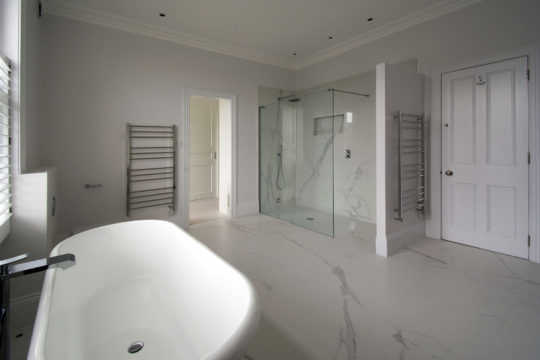 Period property refurbishment master bathroom walk-in shower